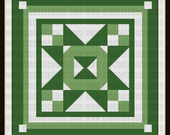 Quilted Greens, King Size, Afghan, C2C Graph, Written Row by Row Word Chart