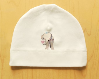Elephant baby hat, organic cotton, cute print, newborn, 0-3 months, natural