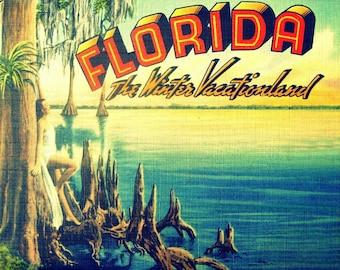 Travel Gift, Travel Art, Vintage Florida Art, Vintage Florida Print, Art Deco Art,  Art Deco Florida Vacation Art, Florida Housewarming Gift