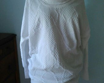 VTG 80s Batwing Mini Dress Textured White Chenelle Totally Rad Rockstar Diva M