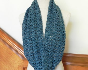 Crochet infinity scarf sea blue green with cute cotton gift bag is ready to ship, crochet cowl scarf