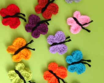 12 Crochet butterfly appliques,embellishments,Scrapbook,sewing,mixed