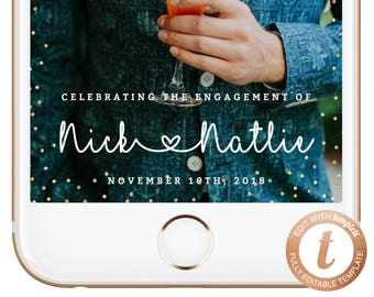 INSTANT DOWNLOAD Snapchat Filter Engagement Snapchat Geofilter Gold Glitter She Said Yes Wedding Filter Engagement Party Silver Templett