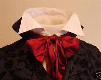 REGENCY Brummel Victorian Ascot Tie Cravat - Brilliant RED Dupioni Silk 4 inch width
