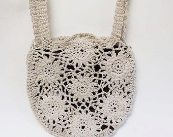 Casual Summer Bag, Crochet Cotton Sunflower Purse, Free Domestic Shipping
