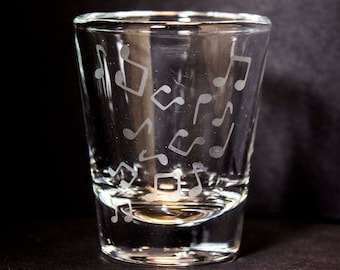 Etched Shot Glass - Music Notes