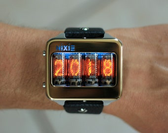 Nixie tube watch clock Titanium wrist watch self made, accelerometer activate, docking station