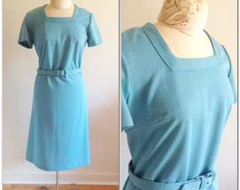 1960s Blue Shift Dress Vintage // large 10 12 sexy mod wiggle dress sixties belted