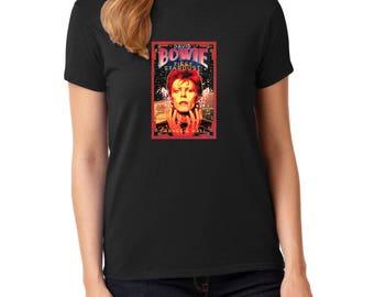 David Bowie Ziggy Stardust concert rock music t-shirt 100% cotton women's tee