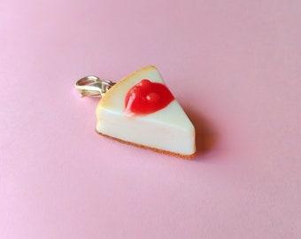 Cherry Cheesecake Charm, Miniature Food Jewelry, Polymer Clay Charm