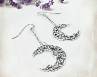 Pale Moon Earrings - Silver Crescent Moon Earrings, Half Moon Earrings, Crescent Earrings, Long Dangle Earrings, Moonsong Collection