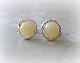 Calcite Studs, Sterling Stud Earrings, Hypoallergenic, Yellow Earrings, Yellow Stud Earrings, Gemstone Studs, Honey Yellow Earrings