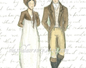Mr.Darcy and Elizabeth Bennet at Pemberley  Art Print.  Pride and Prejudice.