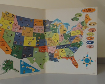 Vintage United States Map Game Board Poster - Milton Bradley