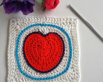 HAAKPATROON - Gehaakte deken met kleurrijke hartjes, cadeau voor baby of bruiloft. PDF patroon
