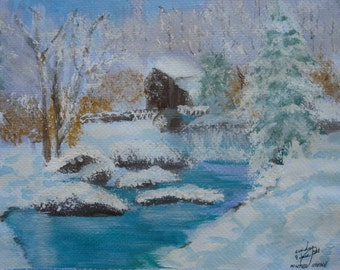 Winter Scene watermill on river in winter acrylic painting on paper 9x12 inches not framed