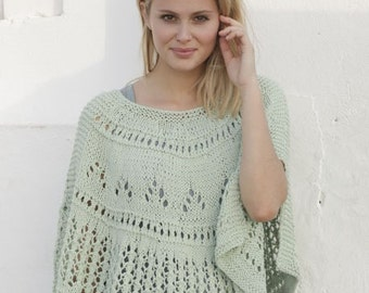 Knit poncho,Hand Knitted poncho in lace pattern Size S - XXXL .