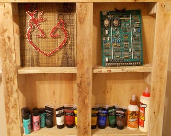Shelving, reclaimed wood, craft storage, crafting, storage, wall mounting