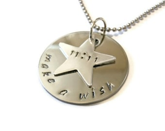 11:11 make a wish necklace, wish upon a star hand stamped wish necklace with star charm by Moonstone Creations