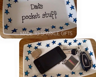 Dad/Daddy/Grandad 's pocket stuff ceramic tray/dish decorated with stars. Personalized fathers day gift