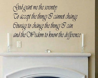 Serenity Prayer Wall Decal WD Quote Inspirational Wall Decal Bedroom Decal  Living Room Decal Wall Decor