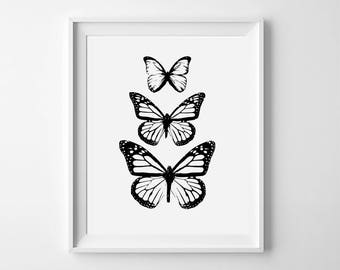 Monochrome butterfly art print - free shipping! Black and white butterfly art - Monochrome living room prints - Butterfly Nursery Prints art