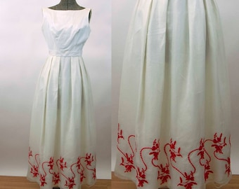 1960s formal gown red white embroidered dress prom dress Fred Piccione Div of Alfred Angelo Size S