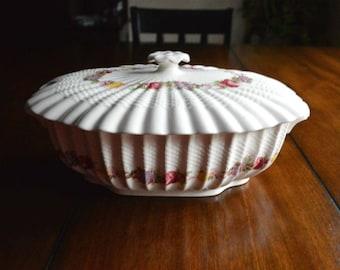 Spode Copeland Rose Briar Oval Covered Vegetable Dish