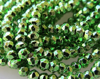 Metallic Chartreuse Green Coated Pyrite Beads 4 X 2mm Fools Gold Rondelles - 14 inch Strand