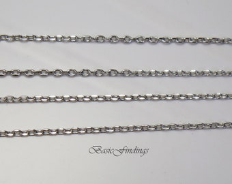 10 Meters, 235 4DC, Dimond Cut Cable Chain, Original Rhodium Plated Brass Chain, Basic Fashion Jewelry Chain, Quality Chain