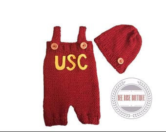USC baby outfit   USC baby clothes   USC onesie   knitted usc baby   usc photo outfit   usc coming home outfit   knitted baby romper  