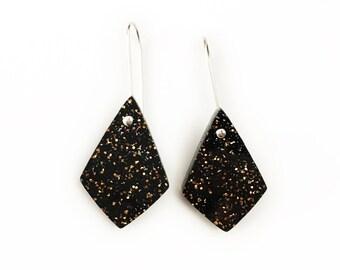 Black Glitter Spear Point Dangles