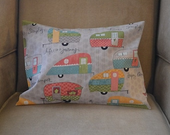 Travel Pillow Case / Accent Travel Pillow Vintage CAMPER / TRAILER / Happy Camper / Glamper / Airstream / Lake House / Canoe / Fishing