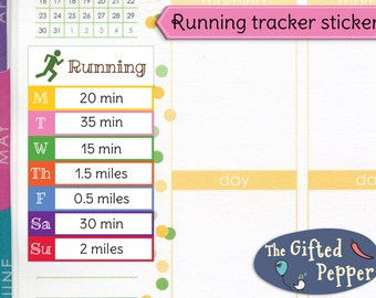 PRINTED Daily running tracker stickers. Run, jog, exercise, fitness, log, week. For Erin Condren Planner. Stickers (Item #214)
