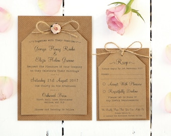 Rustic Rose Wedding Invitation Set - Rustic Wedding Invitation