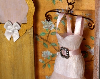 Romantic dress shadowbox, vignette, miniature dress, mixed media collage, memory box, Wedding Gift