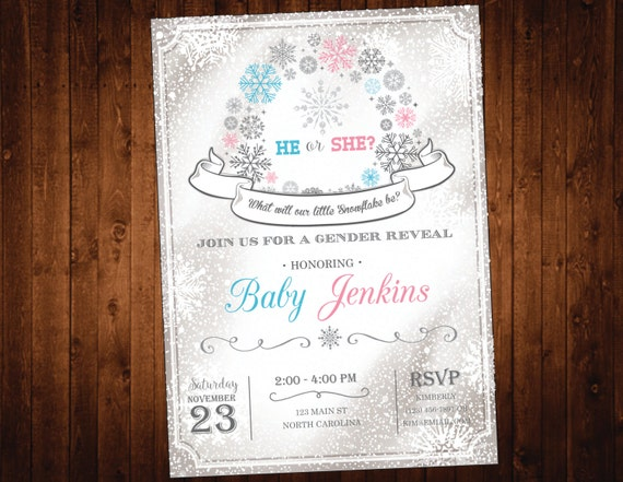 Snowflake Gender Reveal Party Invitation - Winter Wonderland Gender Reveal Invite - Pink or Blue Boy or Girl He or She