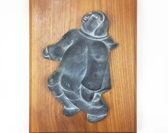 Canadiana Heritage Series Inuit Soapstone Carving on Wood Hand Crafted in Canada Native Art
