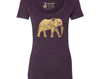 Elephant Tri-blend Scoop Neck T-Shirt, 10% donated to animal causes