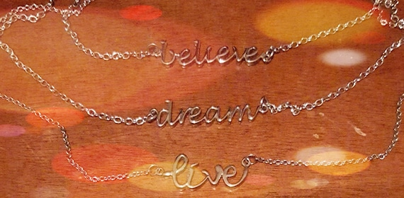 "Stainless Steel Believe, Dream or Live Necklace (16""-18"")"