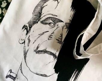 Frankenstein Monster Tote Bag --FREAK-- Screen printed tote bag- classic horror- canvas tote bag