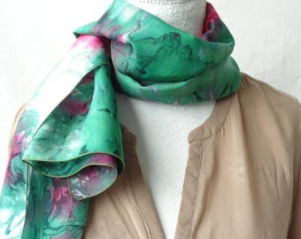 green and fuchisa  silk scarf, hand dyed silk scarf, long silk scarf,handmade silk scarf, gift for her