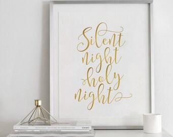 Silent Night Print-Christmas Print-Christmas Printables-Wall Art Sign-Holiday Prints-Christmas Decoration-Holiday Decor-Holiday Printable