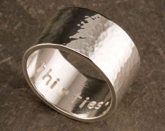 Wide Silver Ring Personalized, Wedding Band Sterling Silver Wide Ring, Personalized and Hammered Ring