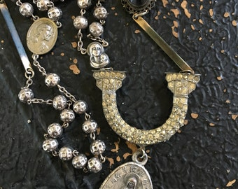 Vintage Rhinestone Dress Clip Assemblage Necklace Silver Rosary Religious Medal Statement Jewelry