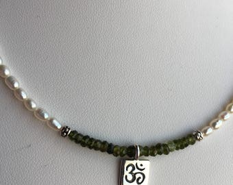 Necklace — Sterling Hill Tribe Om Charm, Green Tourmaline, Freshwater Pearls