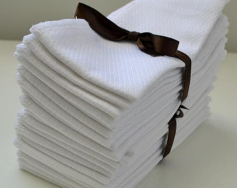 1 Ply White Birsdseye Cotton Un-Paper Paperless Towels Free Shipping in the US reduced cost worldwide, Your choice of color edging