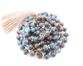 108 Mala Bead Necklace Tassel Necklace Mala Beads Cloisonne Jasper Agate Mala Beads 108 Blue Mala Mala Prayer Beads Yoga Necklace 108 Mala