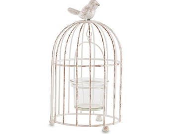 Small Vintage Look Bird Cage Candle Holder Rustic Wedding Centerpiece