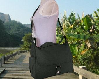 Black canvas messenger bag women shoulder bag diaper bag crossbody bag satchel travel bag hobo bag market tote laptop bag moms gift